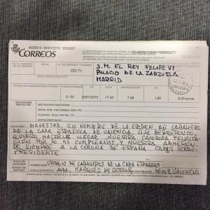 Telegrama felicitando el 47 cumpleańos de S.A.R. Felipe VI.